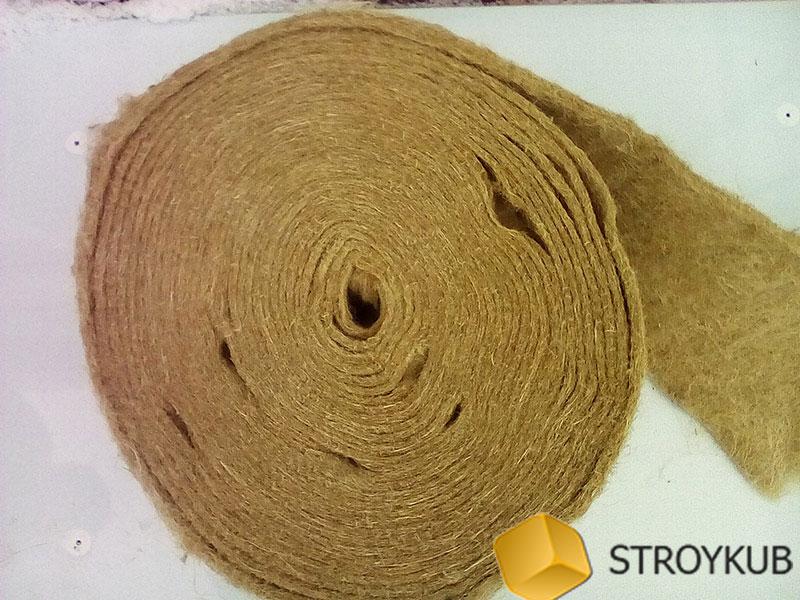 Фото - ватин из джута 0,15х20м(100%первичное волокно), толщина 5-6  мм (шт)(Бангладеш)