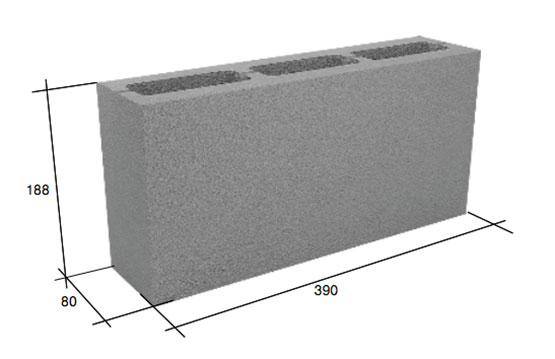 Фото - Перегородочный пустотелый бетонный блок 20-20-40