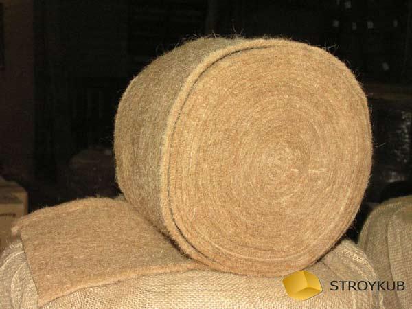 Фото - ватин из джута 0,20х20м (100%первичное волокно) , толщина 10 мм (шт)(Бангладеш)