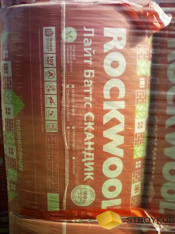 Фото - Каменная вата РОКВУЛ (Rockwool)Скандик 800*600*100(2,88м2)(0,288м3)