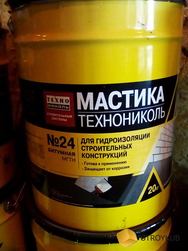Фото - Мастика №24 гидроизоляционная МГТН (Технониколь) (20кг) 1 кг\м2