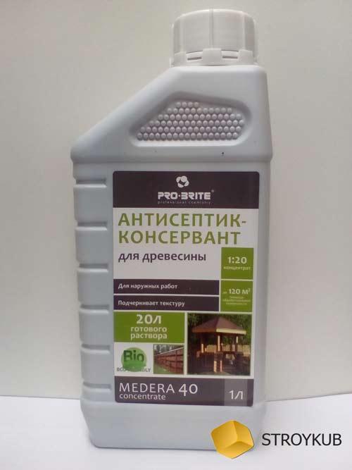 Фото - Антисептик деревозащитный для наружных работ MEDERA 40 (концентрат 1:20) 1 л