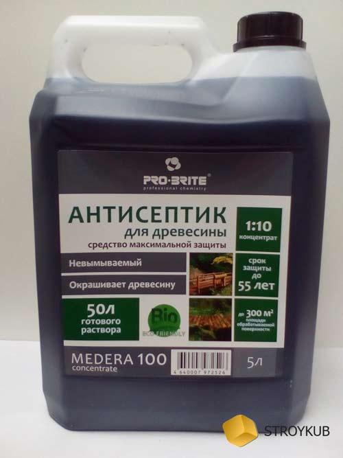 Фото - Антисептик-консервант деревозащитный усиленный для наружных работ MEDERA 100 ( 1:10)5 л