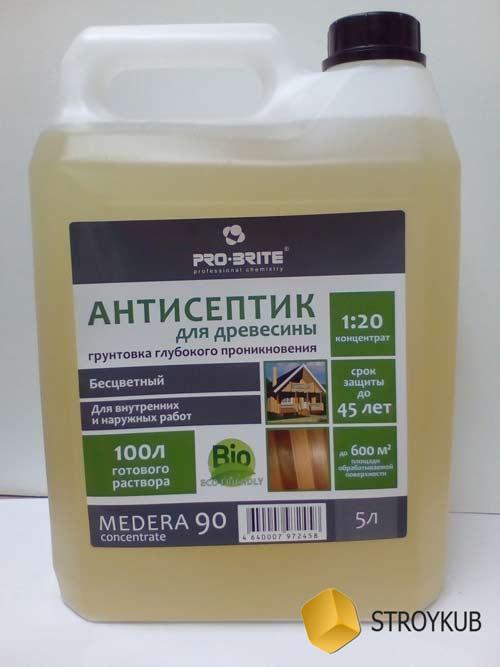 Фото - Антисептик -грунтовка деревозащитный для наружных и внутренних работ MEDERA 90 (1:20) 5 л.